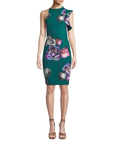 Black Halo Pabal Ruffle-Trim Floral-Print Dress
