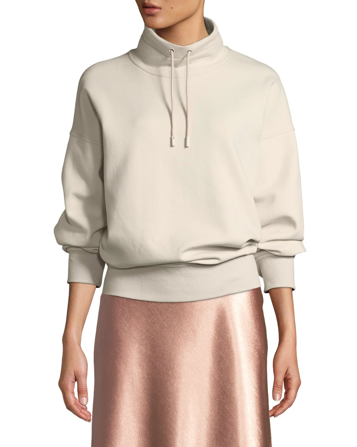 dabaa41bdd8637 Vince Funnel-Neck Dropped-Shoulder Pullover Sweatshirt | Neiman Marcus