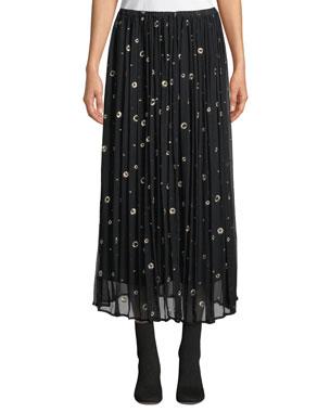 aec5fa0d0 Vince Metallic Embroidered Silk Long Skirt