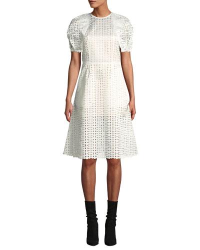 Laser-Cut Short-Sleeve Cocktail Dress