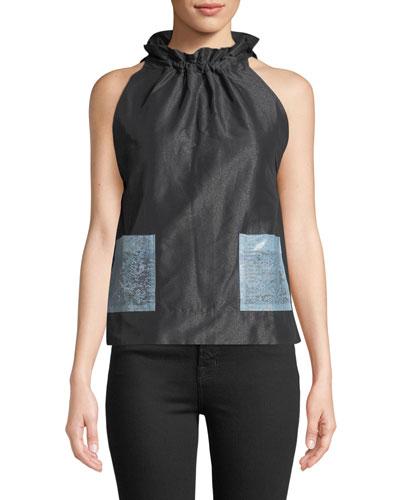 Sleeveless Tie-Neck A-Line Pocket Blouse