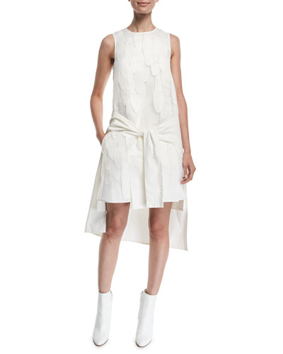 Layered Tie-Front Sleeveless High-Low Shift Dress