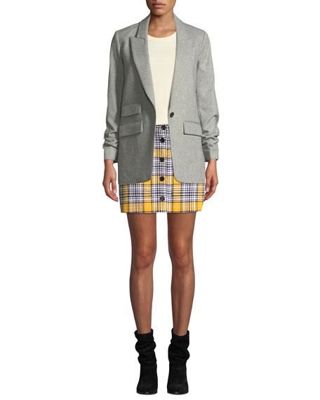 Veronica Beard Monroe Plaid Button-Front Mini Skirt