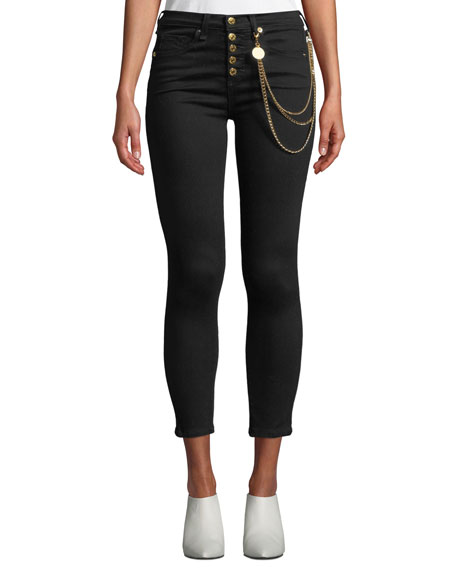 """Veronica Beard Debbie 10"""" Rise Skinny Jeans with Gold Chains"""