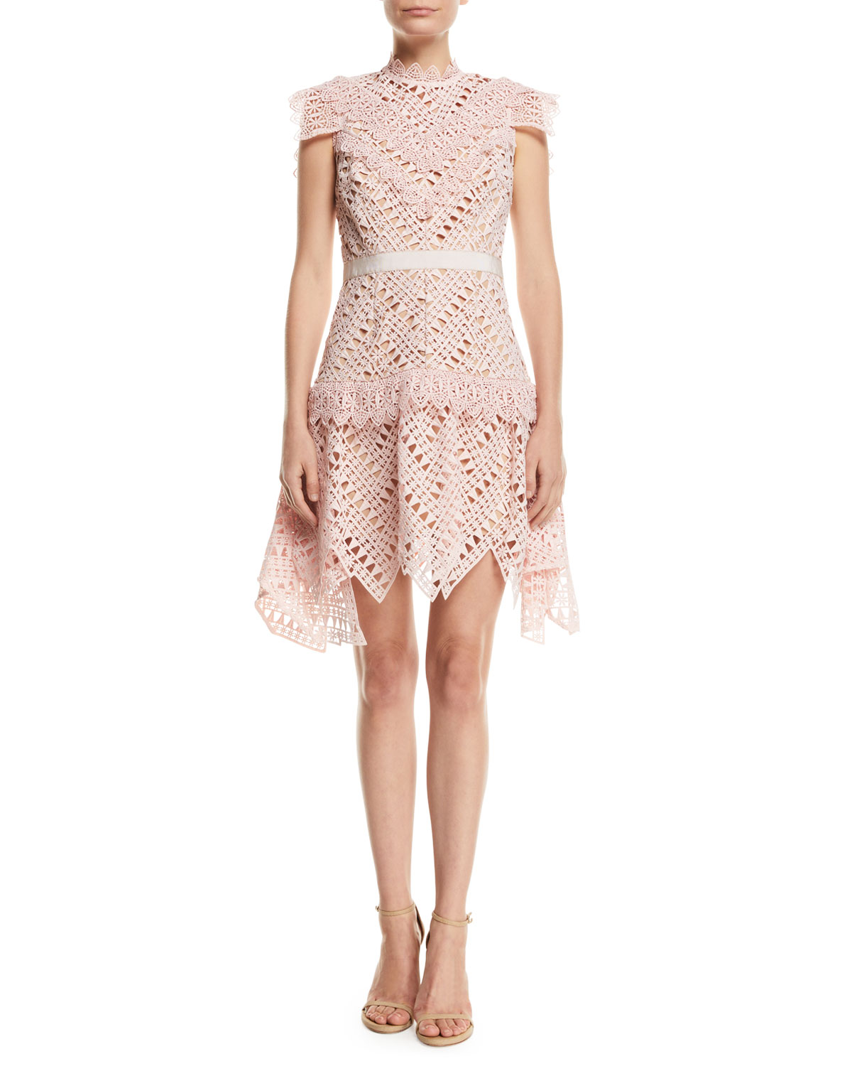 Self-Portrait Abstract Triangle Lace High-Neck Short Dress