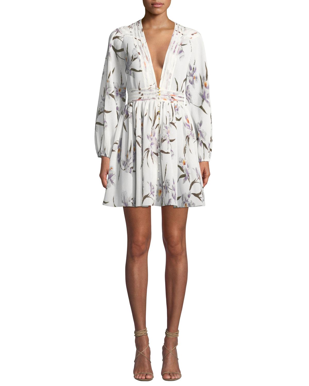 556d404e02426 Zimmermann Corsage Floral Plisse Long-Sleeve Mini Dress | Neiman Marcus