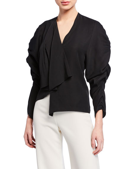 A.W.A.K.E. V-Neck Long-Sleeve Ruched Top