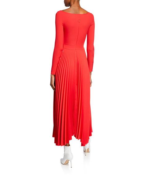 A.W.A.K.E. Scoop-Neck Long-Sleeve Pleated Dress