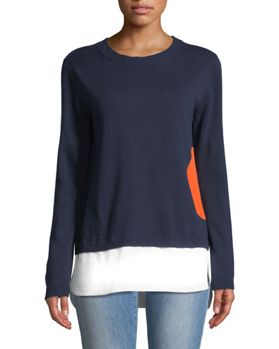 Dot Sweater with Shirting Hem