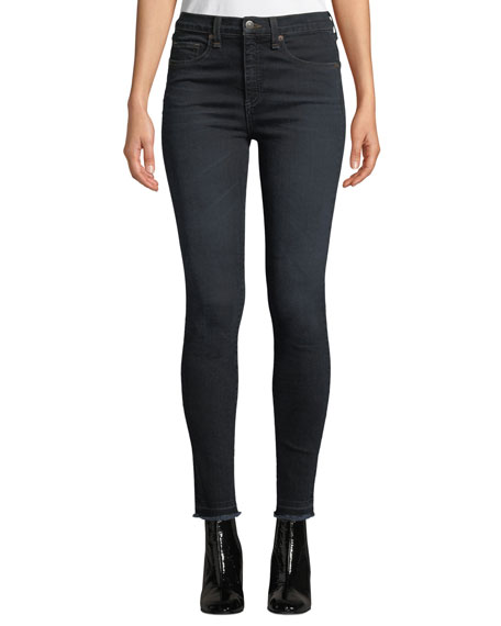 """Veronica Beard Kate 10"""" Rise Skinny Ankle Jeans with Released Hem"""