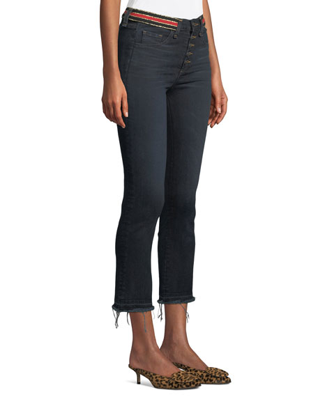 Veronica Beard Carolyn High-Rise Cropped Jeans with Striped Waistband