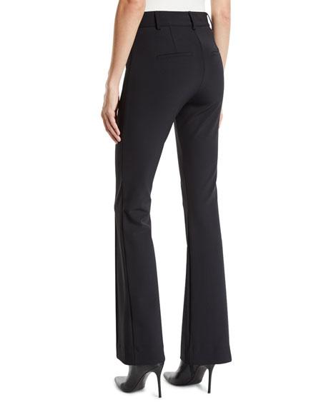 Veronica Beard Hibiscus Pintuck Boot-Cut Pants