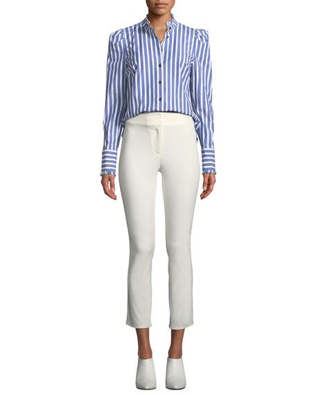 Veronica Beard Rumi High-Waist Skinny Cotton Pants