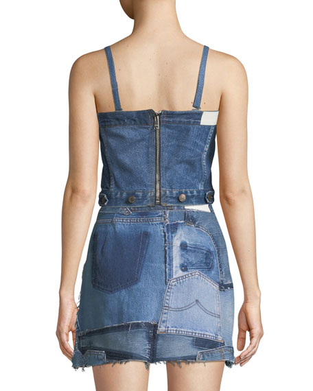 Deconstructed Denim Corset Crop Top