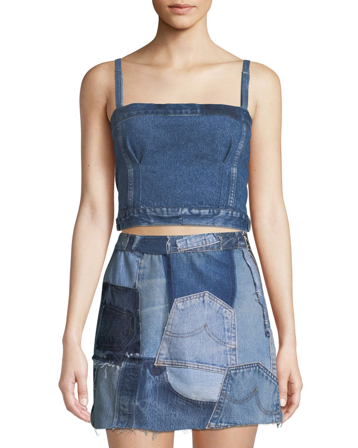 9c2adc2651a3ef RE DONE Deconstructed Denim Corset Crop Top