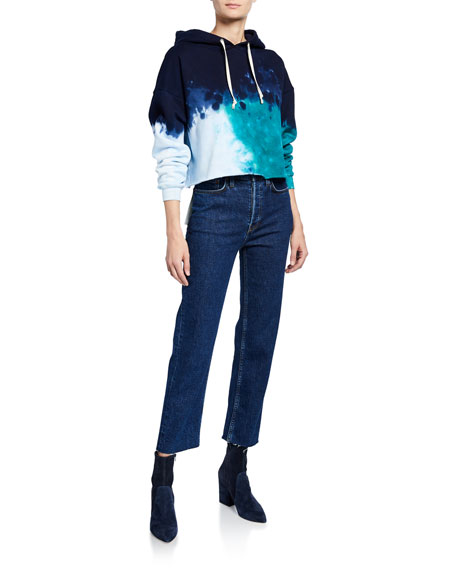 RE/DONE High-Rise Double-Needle Cropped Straight-Leg Jeans