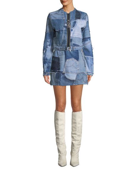 Patchwork Frayed Denim Mini Skirt