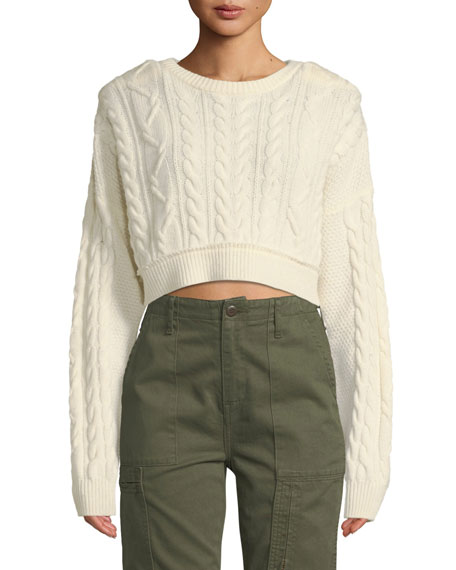 RE/DONE Cropped Wool-Cashmere Cable-Knit Sweater