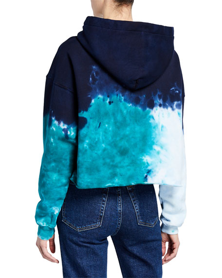 RE/DONE Tie-Dye Cropped Raw-Edge Hoodie