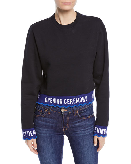 Scalloped Logo Cropped Pullover Sweatshirt