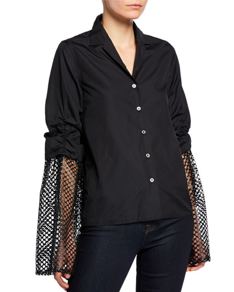 Anais Jourden Poplin Button-Up Blouse with Mesh Sleeves