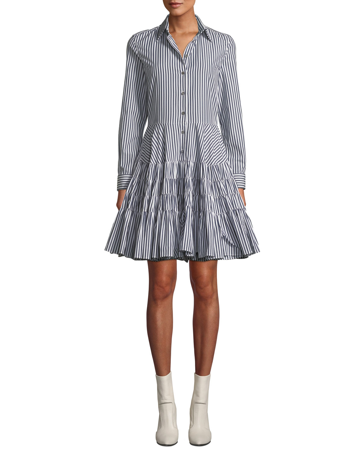 Anais Jourden Striped Gathered Fit And Flare Shirtdress Neiman Marcus
