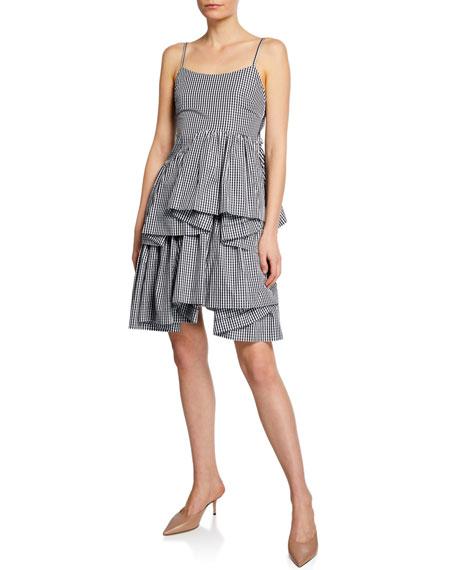 Anais Jourden Asymmetrical Gingham Ruffle Short Dress