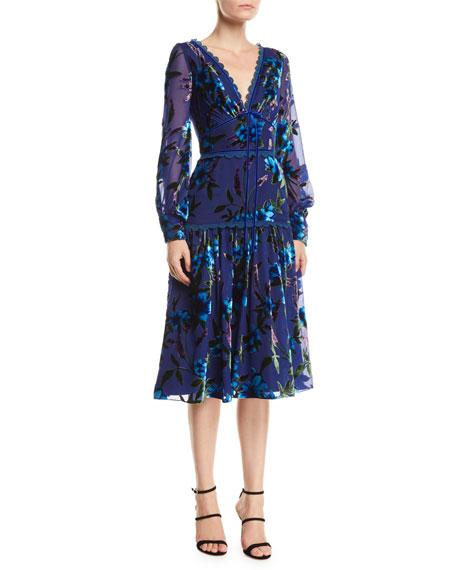 Marchesa Notte Floral Velvet Burnout Bishop-Sleeve Dress