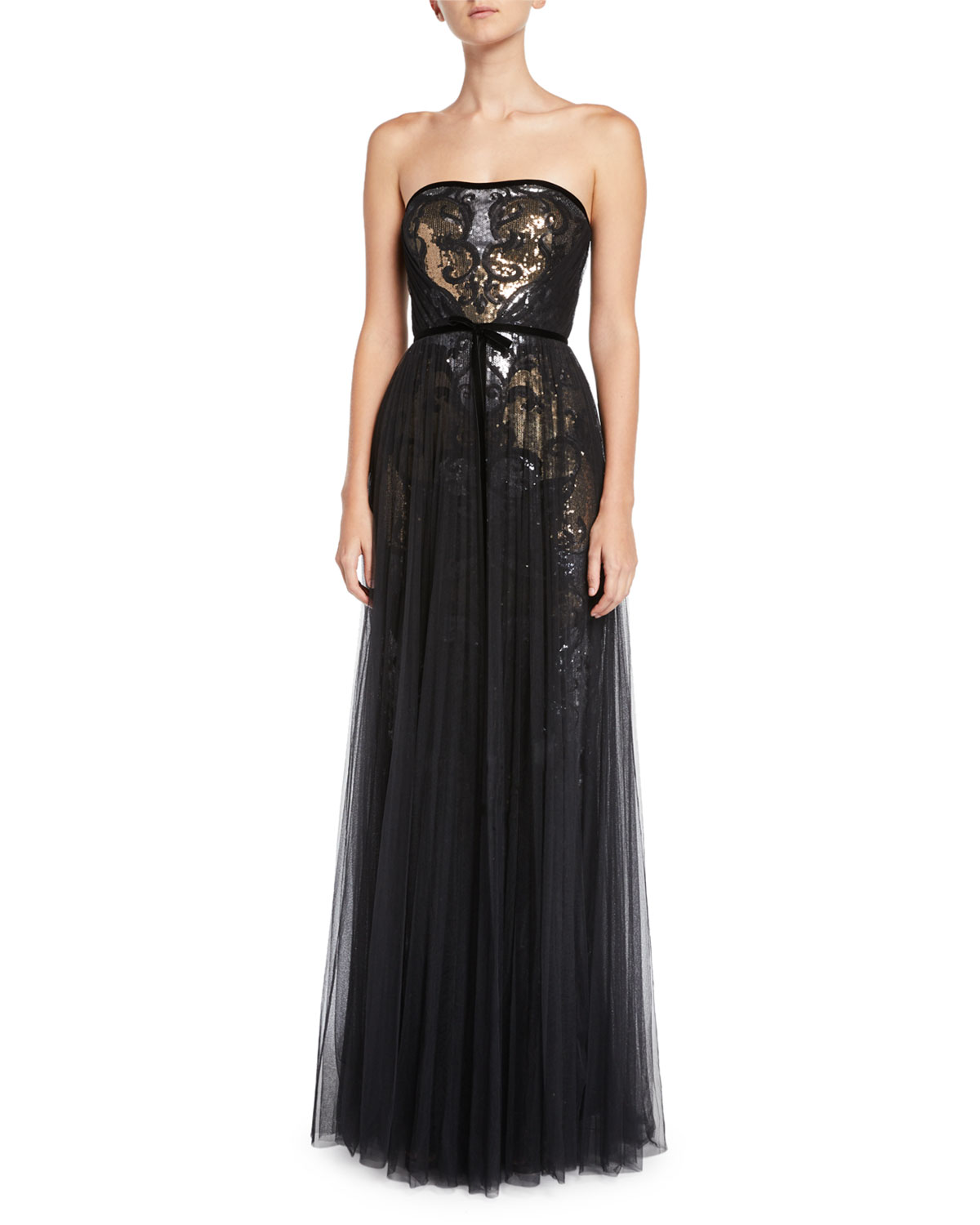 99d1948f Marchesa Notte Sequin & Tulle Pleated Strapless Gown   Neiman Marcus
