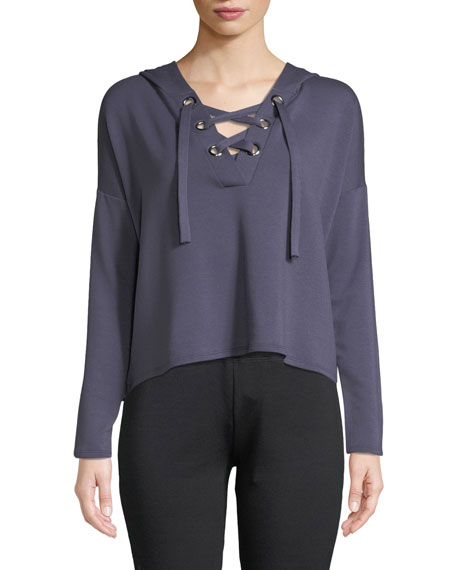 Beyond Yoga Over Tied Lace-Up Cropped Pullover Sweater