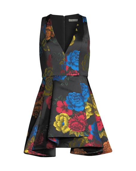 Alice + Olivia Tanner Floral-Print Asymmetrical Dress