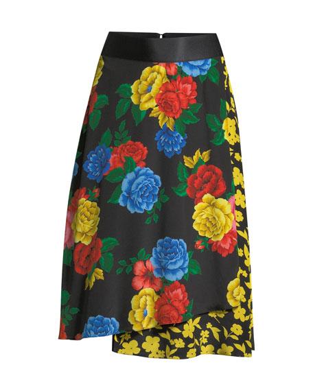 Alice + Olivia Nanette Mock-Wrap Midi Skirt