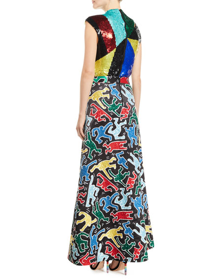 Alice + Olivia Keith Haring x Alice + Olivia Ursula Embellished A-Line Ball Gown Skirt