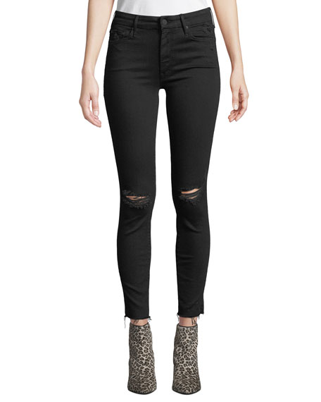 MOTHER Looker Ankle Fray Distressed Jeans with Lightning Bolt