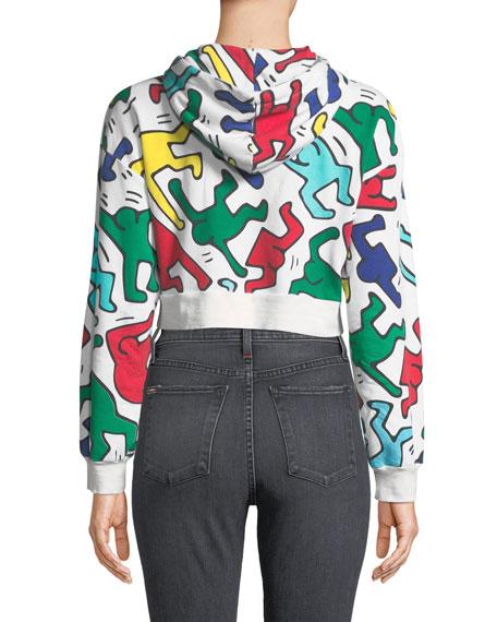 Alice + Olivia Keith Haring x Alice + Olivia Barron Cropped Wide-Sleeve Zip-Up Hoodie