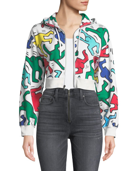 Alice + Olivia Keith Haring x Alice + Olivia Barron Cropped Wide-Sleeve Zip-Up Hoodie