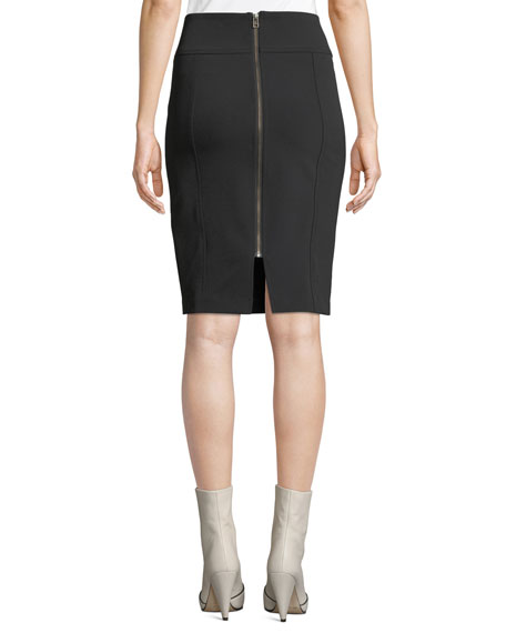 Veronica Beard Scuba-Knit Pencil Skirt with Exposed Zip