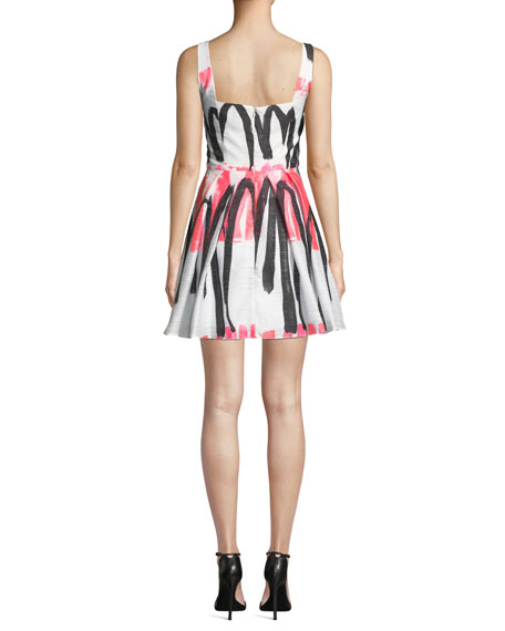 Image 2 of 4: Milly Camila Modern Scribble-Print Fit-&-Flare Dress
