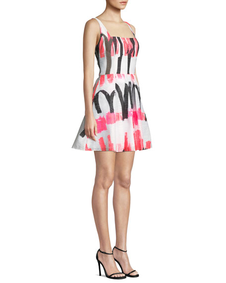 Image 3 of 4: Milly Camila Modern Scribble-Print Fit-&-Flare Dress