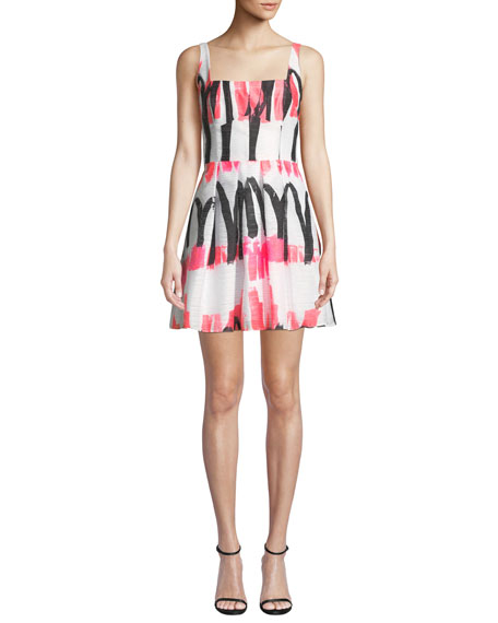 Image 1 of 4: Milly Camila Modern Scribble-Print Fit-&-Flare Dress