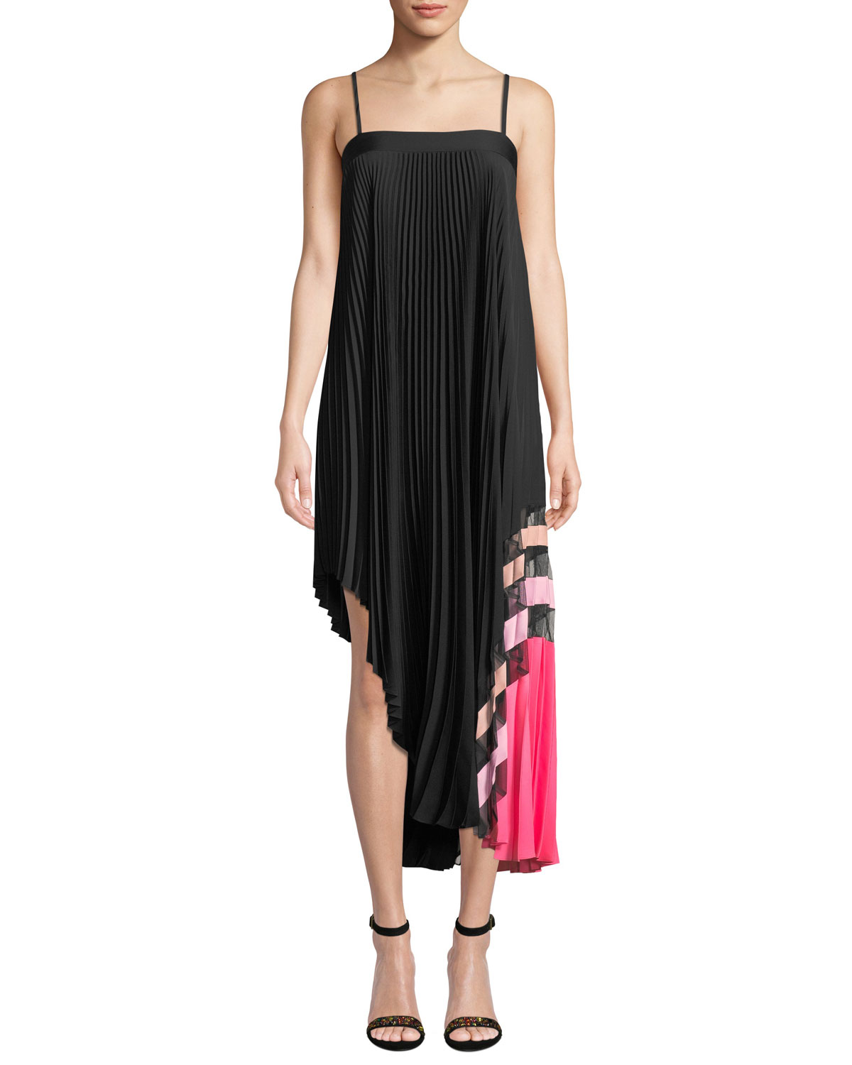 d34afe52 Milly Irene Stretch Silk Pleated Dress | Neiman Marcus