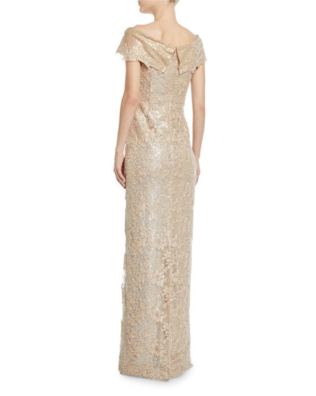 Rickie Freeman for Teri Jon Off-the-Shoulder Embroidered Lace Gown