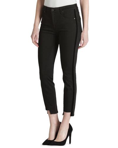 Twisted Tuxedo Step-Hem Skinny Jeans with Velvet Stripes