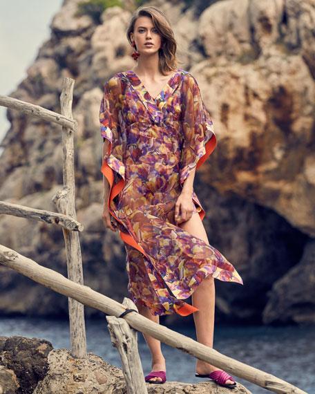 Chiara Boni La Petite Robe Naia Floral-Print Organza Long Coverup Kaftan