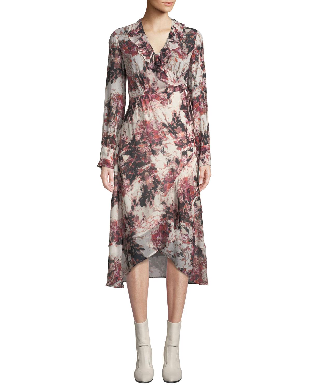 acfe5a47d5d Iro Garden Surplice Long-Sleeve Printed Wrap Dress