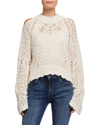 Unctuous Crochet Cold-Shoulder Sweater