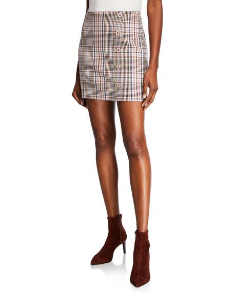 Veronica Beard Filter Plaid Mini Skirt with Button Detail