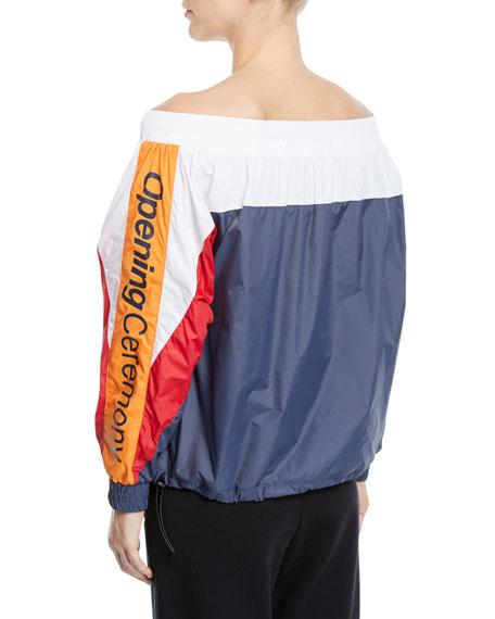 Off-Shoulder Colorblock Track Jacket