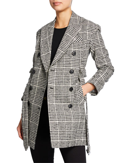 Veronica Beard Augusta Double-Breasted Check Coat