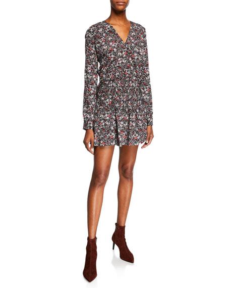 Veronica Beard Naomi V-Neck Long-Sleeve Floral-Print Mini Dress
